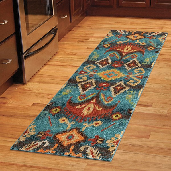 Blue, Navy, Red, Brown (2804) Ikat Area Rug