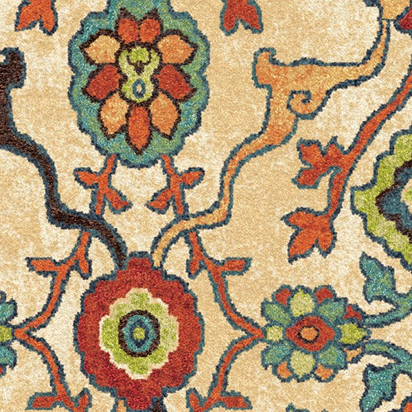 Ivory, Blue, Green, Red (2807) Transitional Area Rug