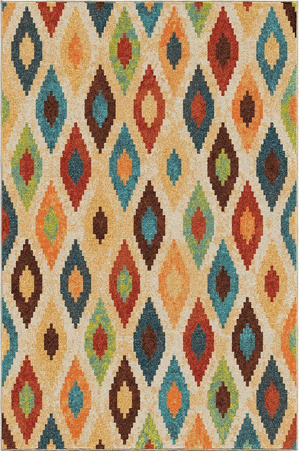 Blue, Brown, Red, Ivory (2821) Bohemian Area Rug