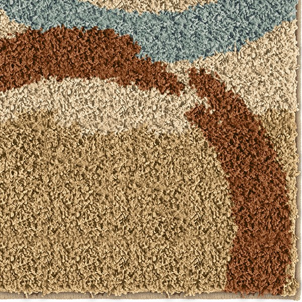 Beige, Burnt Orange, Blue (3719) Shag Area Rug