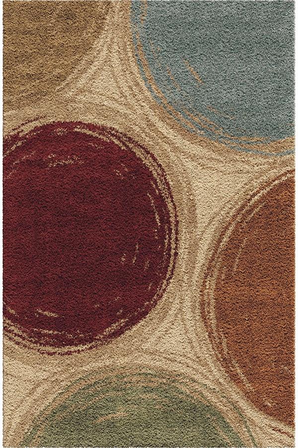 Red, Beige, Seafoam (3711) Shag Area Rug
