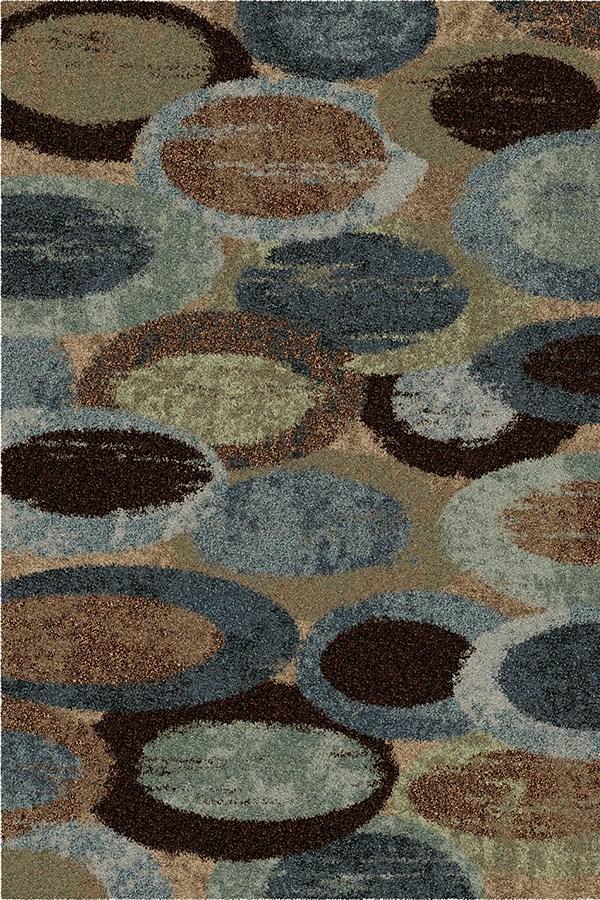 Blue, Brown, Green, Beige (3611) Shag Area Rug