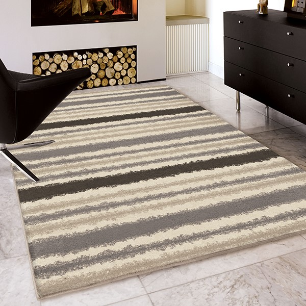Ivory, Taupe Beige (3414) Striped Area Rug