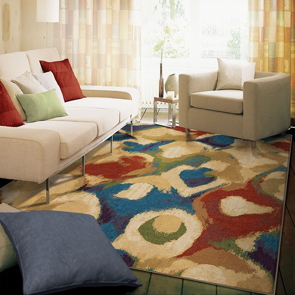 Beige, Blue, Red, Ivory (3821) Contemporary / Modern Area Rug