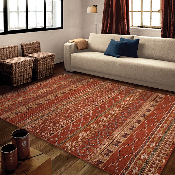 Rust, Red (3830) Rustic / Farmhouse Area Rug
