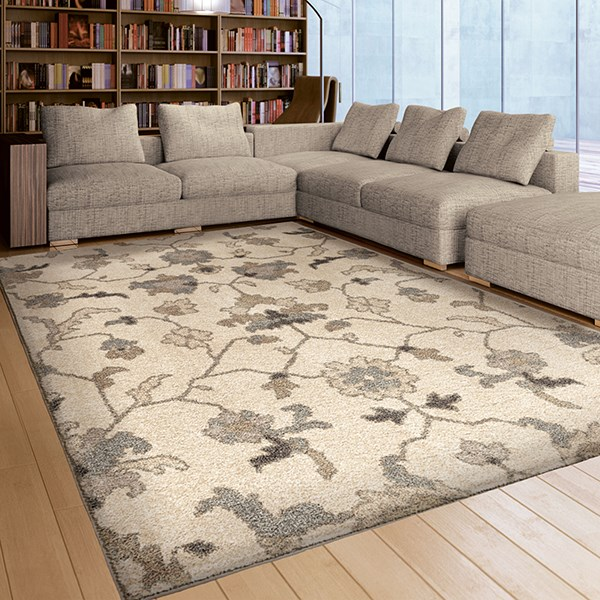 Gray, Silver, Beige (4311) Traditional / Oriental Area Rug