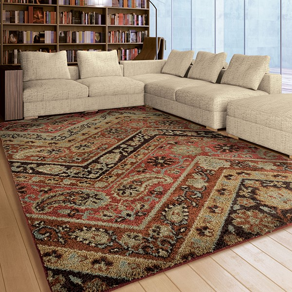 Orange, Red, Green (4318) Traditional / Oriental Area Rug
