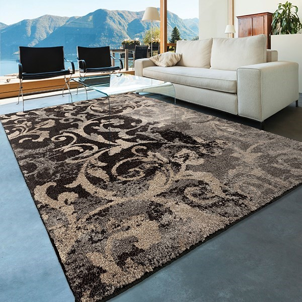Black, Grey, Silver (4324) Transitional Area Rug