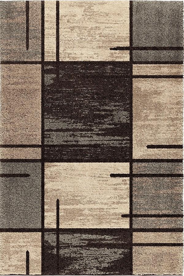 Black, Grey Beige (4301) Contemporary / Modern Area Rug