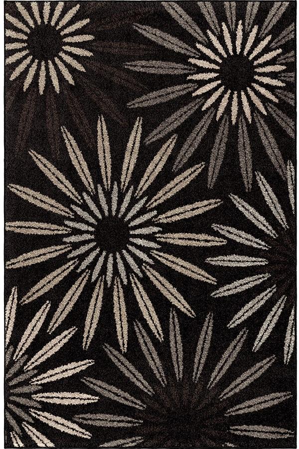 Black, Grey, Silver, Taupe (4305) Floral / Botanical Area Rug