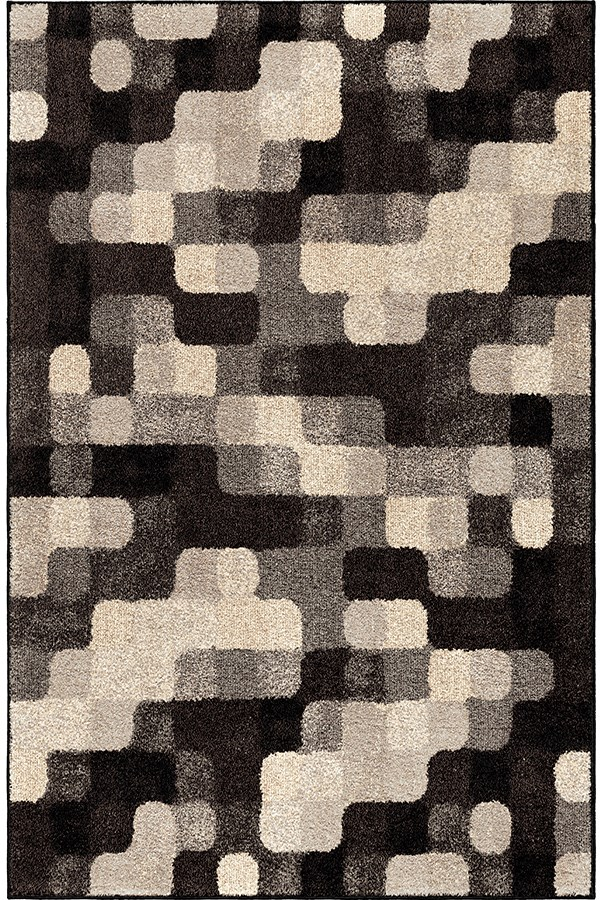 Black, Silver, Ivory (4312) Contemporary / Modern Area Rug