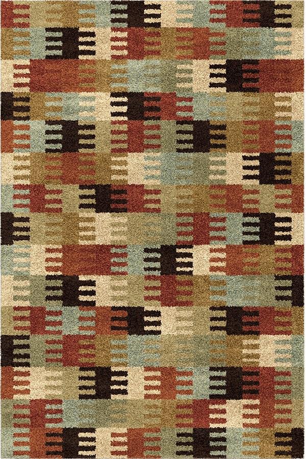 Red, Orange, Brown, Green (4317) Contemporary / Modern Area Rug
