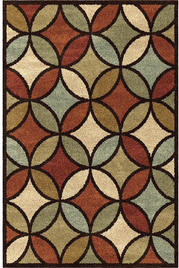 Brown, Red, Burnt Orange (4321) Contemporary / Modern Area Rug