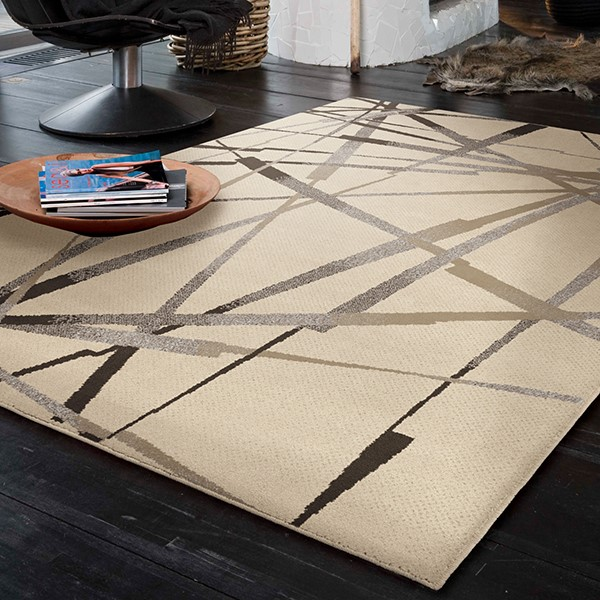 Ivory, Grey, Black (4200) Contemporary / Modern Area Rug