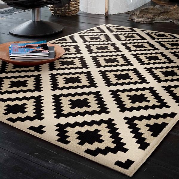 Ivory, Black (4212) Moroccan Area Rug