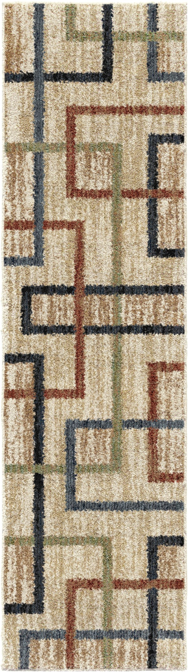 Beige, Black, Red (4432) Abstract Area Rug