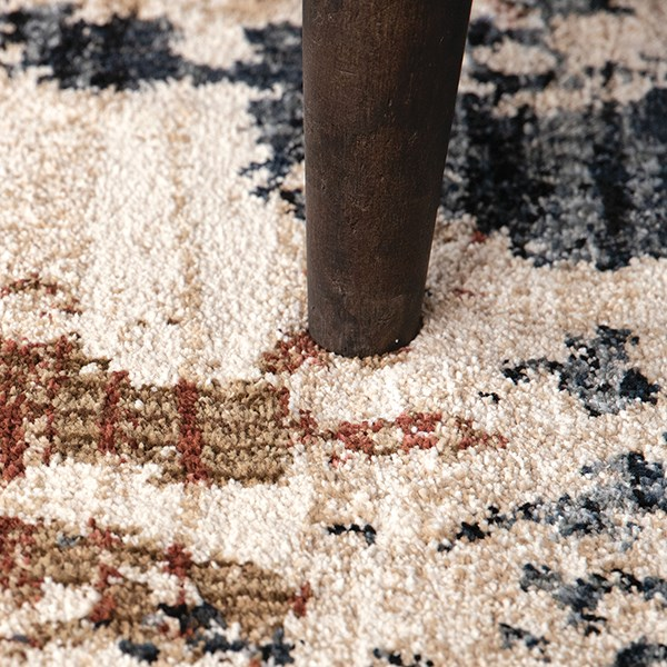 Blue, Beige, Rust, Ivory (8233) Abstract Area Rug
