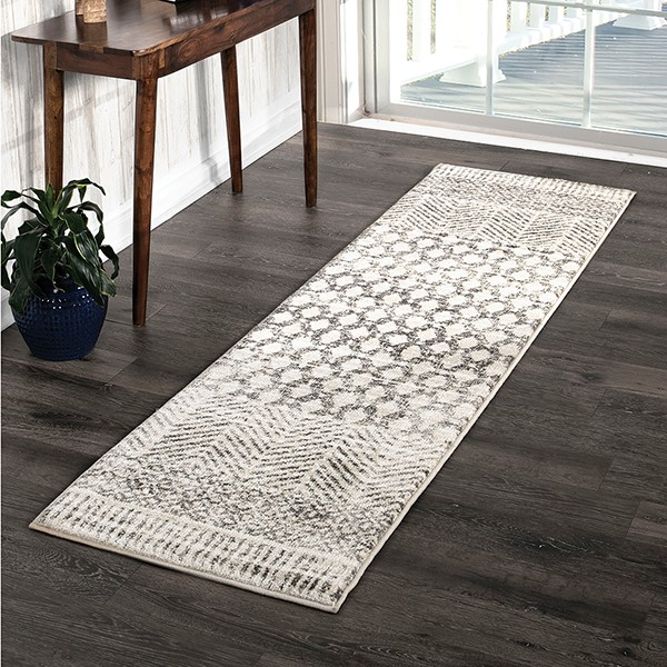 Grey, White, Ivory (8226) Moroccan Area Rug