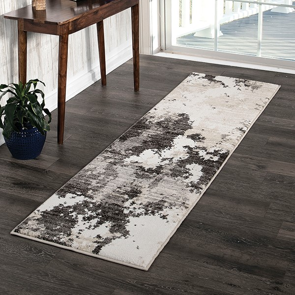 Grey, Silver, Beige, White (8232) Abstract Area Rug