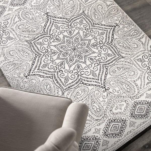 White, Grey, Tan (8242) Traditional / Oriental Area Rug