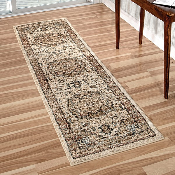 Ivory, Rust, Beige (8204) Traditional / Oriental Area Rug