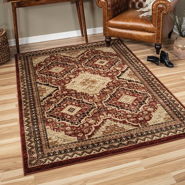 Red, Brown, Beige (8217) Traditional / Oriental Area Rug