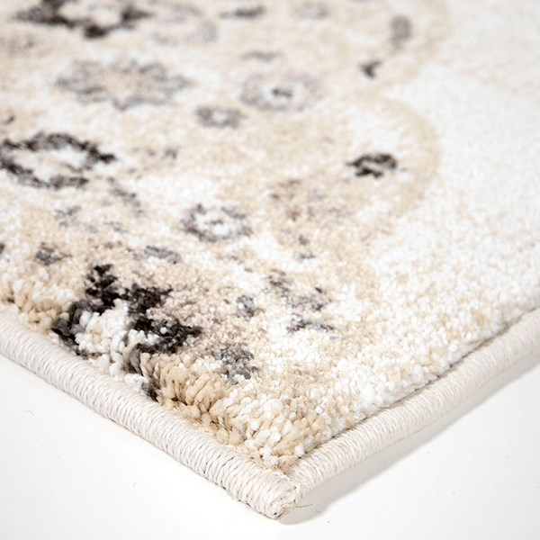 White, Beige, Grey (8214) Damask Area Rug