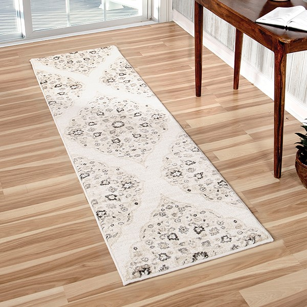 White, Beige, Grey (8214) Traditional / Oriental Area Rug