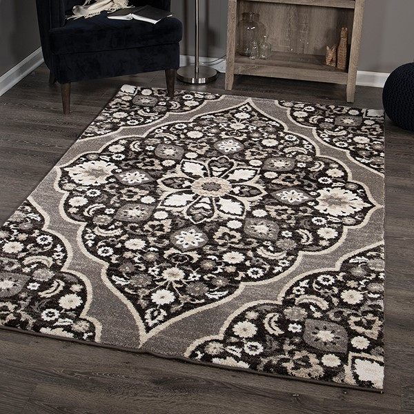 Black, Grey, Silver, White (8215) Traditional / Oriental Area Rug