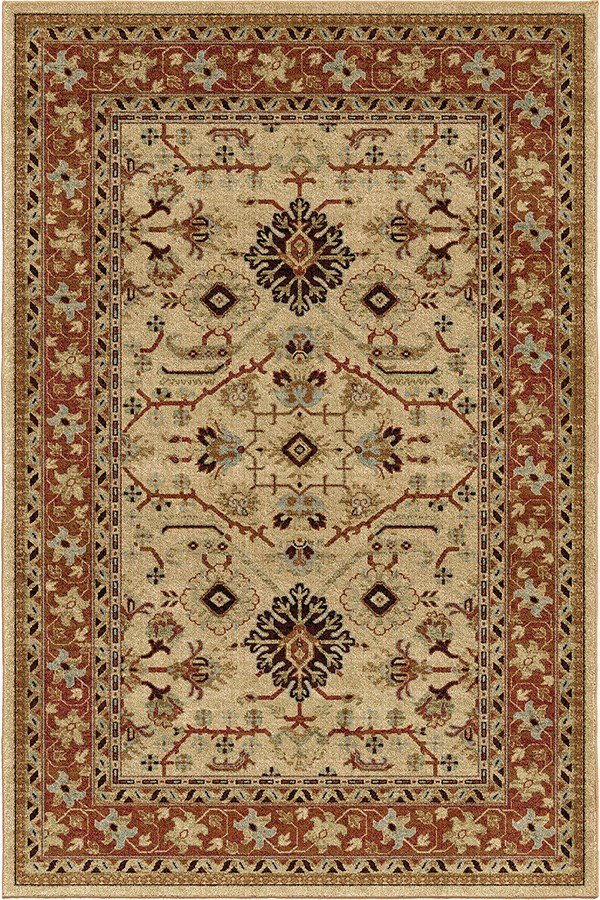 Beige, Red, Rust, Brown (8224) Traditional / Oriental Area Rug