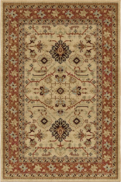 Beige, Red, Rust, Brown (8224) Traditional / Oriental Area Rug