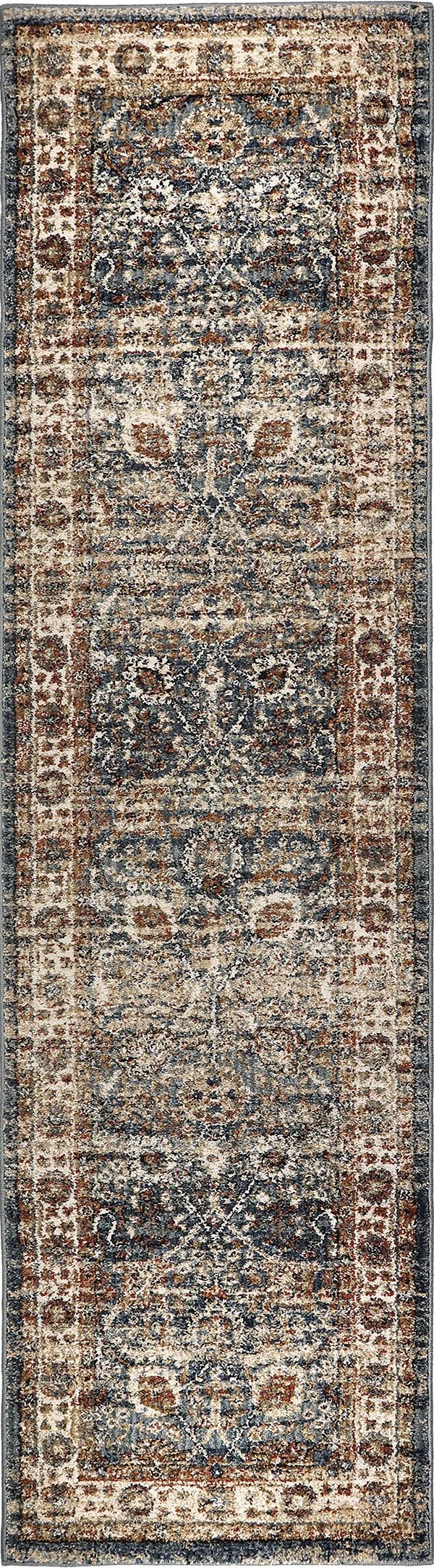 Indigo, Blue, Ivory, Rust (8222) Vintage / Overdyed Area Rug