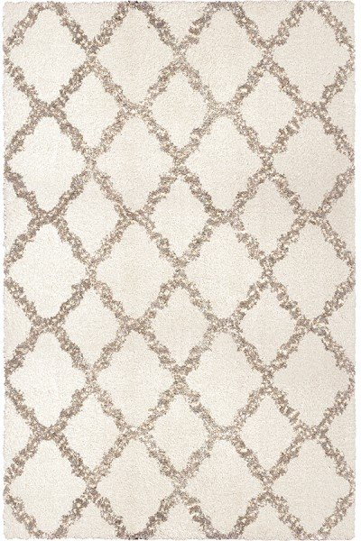 White, Grey (8305) Shag Area Rug