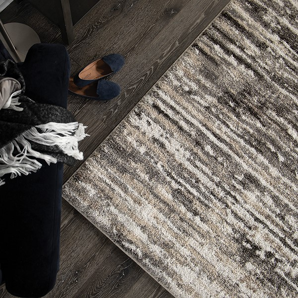 Grey, Ivory (7008) Abstract Area Rug