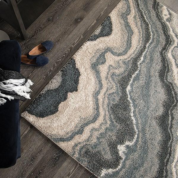 Grey, Black (7010) Abstract Area Rug