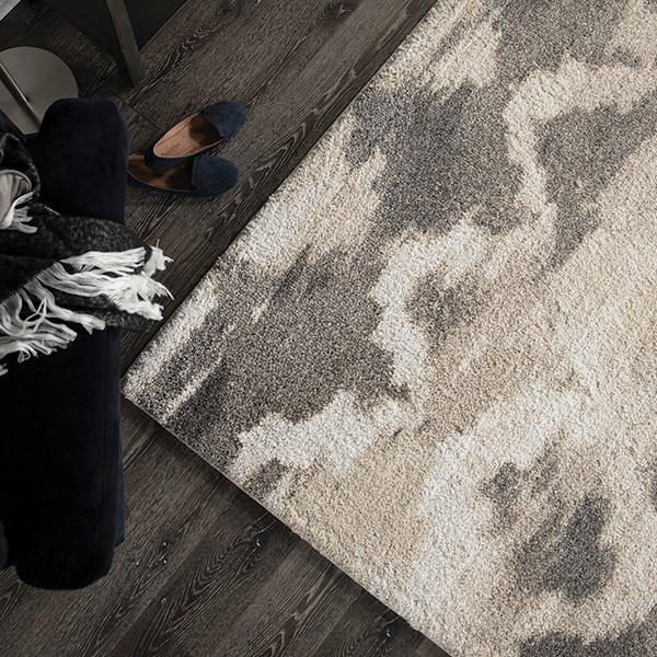 Ivory, Beige (7003) Abstract Area Rug