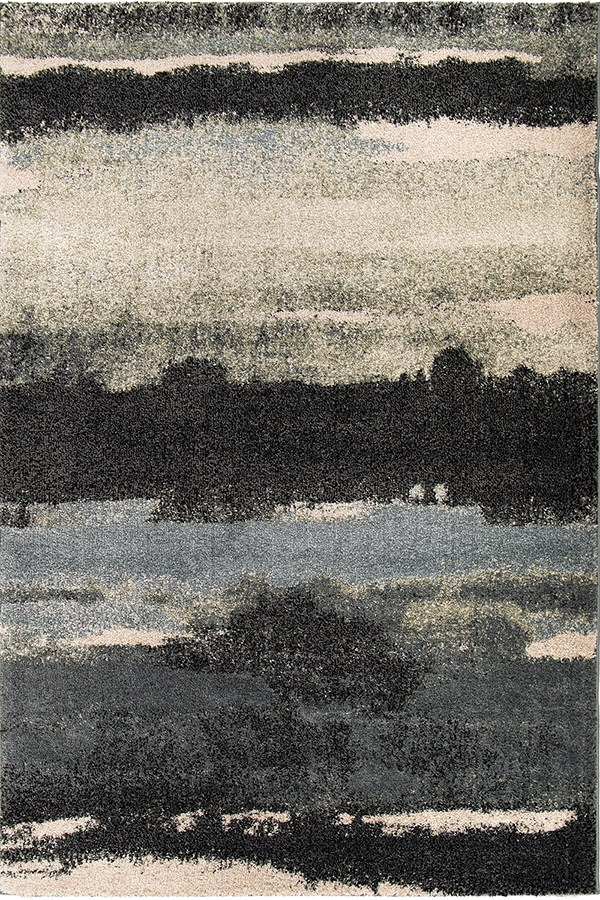 Dark Blue, Blue (7011) Abstract Area Rug