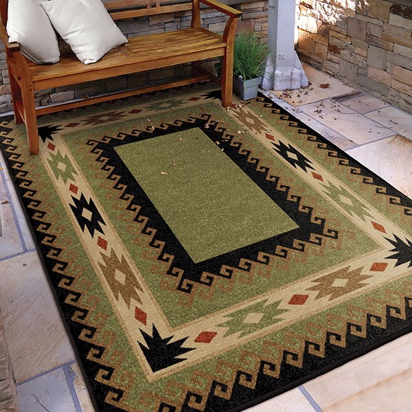 Green, Brown, Red (4600) Southwestern / Lodge Area Rug