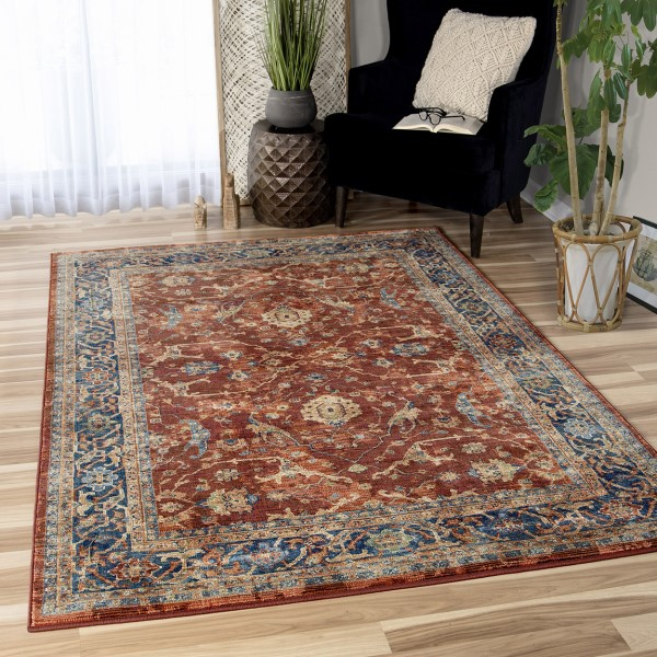 Red, Brown, Blue Bohemian Area Rug