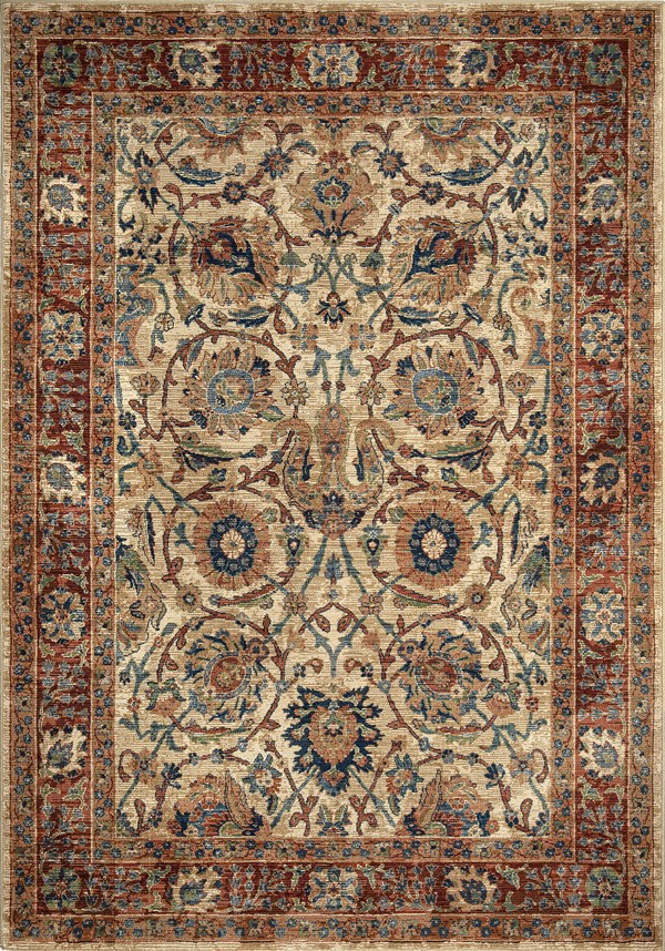 Brown, Red, Blue Bohemian Area Rug