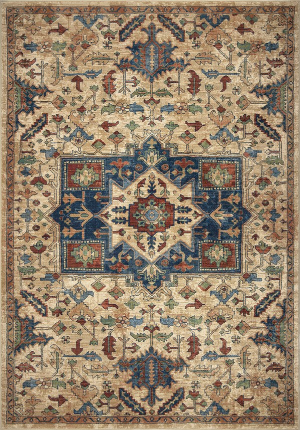 Tan, Red, Blue (4509) Bohemian Area Rug