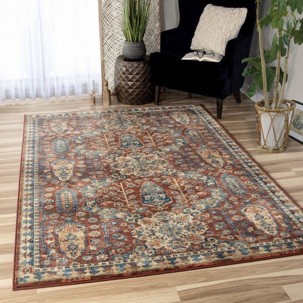 Red, Tan, Blue (4511) Contemporary / Modern Area Rug