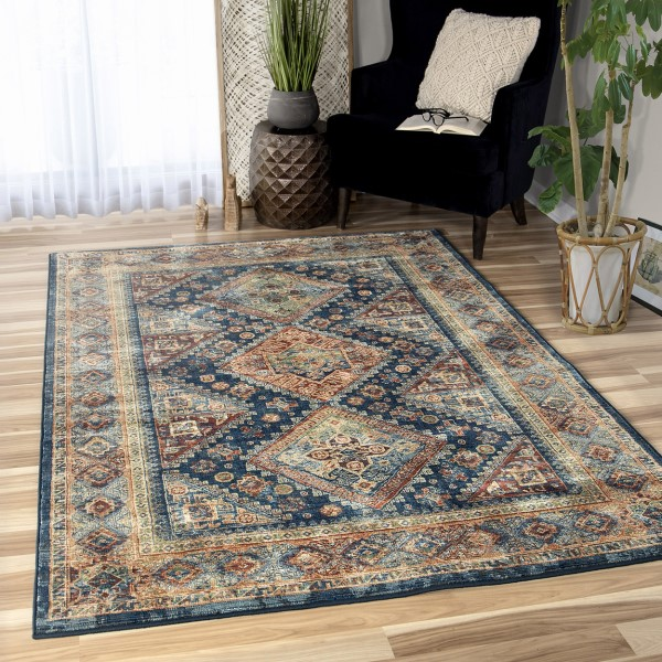 Navy, Brown, Red (4512) Bohemian Area Rug