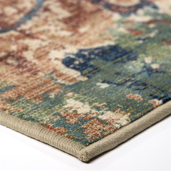 Tan, Green, Red Bohemian Area Rug