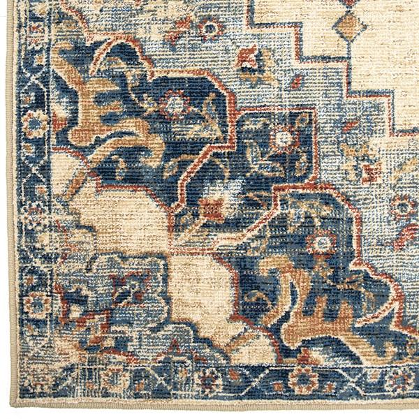 Tan, Blue Traditional / Oriental Area Rug