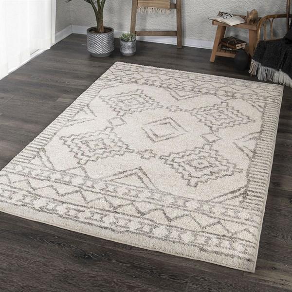 Ivory, Grey (8434) Moroccan Area Rug