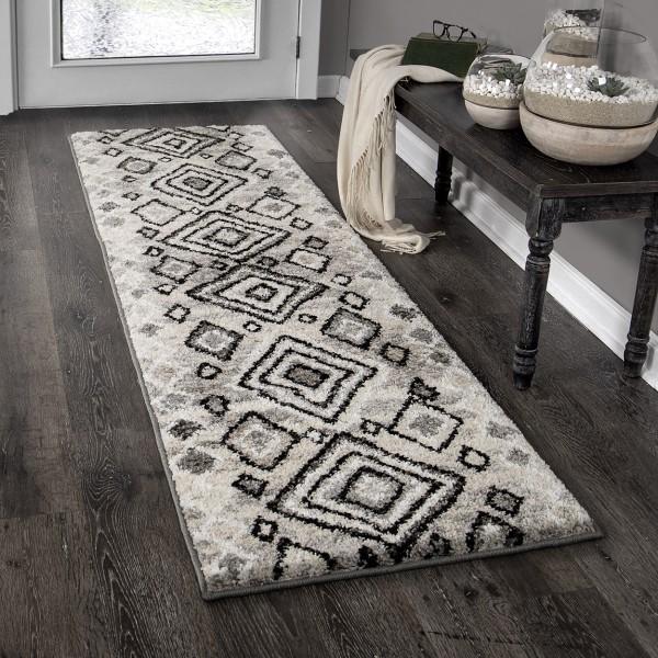 Grey, Ivory, Charcoal (8425) Moroccan Area Rug