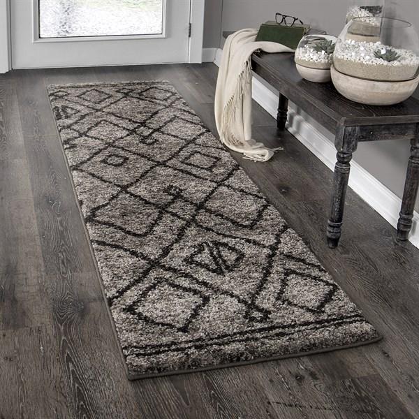 Grey, Black (8428) Moroccan Area Rug