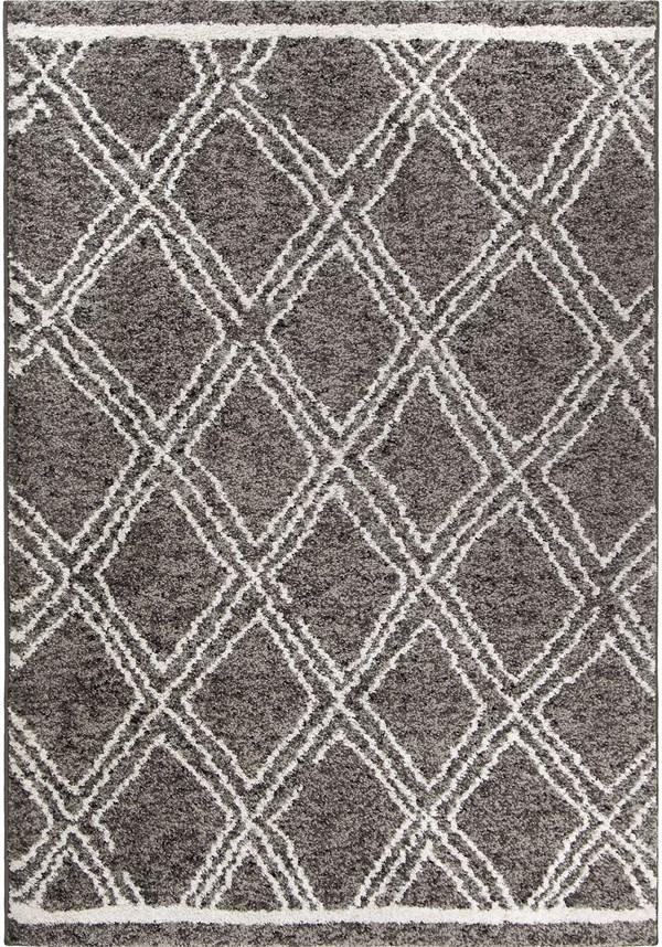 Grey, White (8426) Moroccan Area Rug