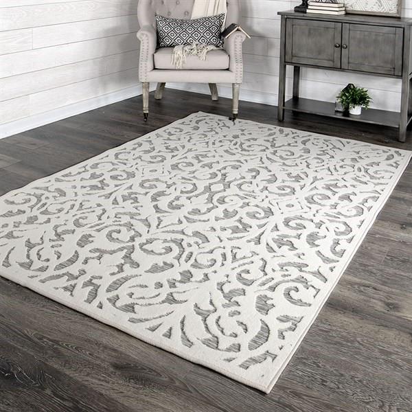 Grey, Ivory Outdoor / Indoor Area Rug